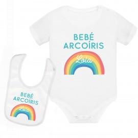 Body bebé personalizado arcoíris con babero
