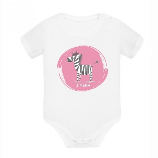 body + babero cebra con el nombre del bebe