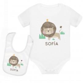 body bebe y babero personalizado leon
