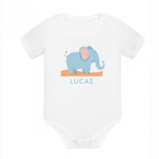 Pack body bebé personalizado elefante + babero