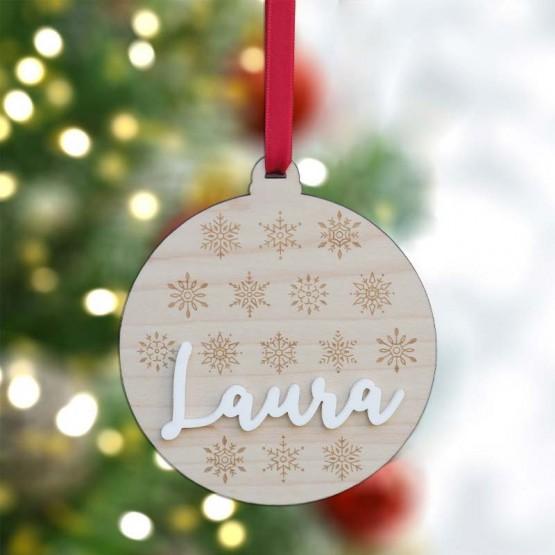 bola navidad con nombre en relieve