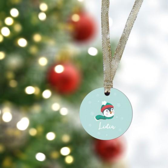 Bola Navidad personalizada pingüinos