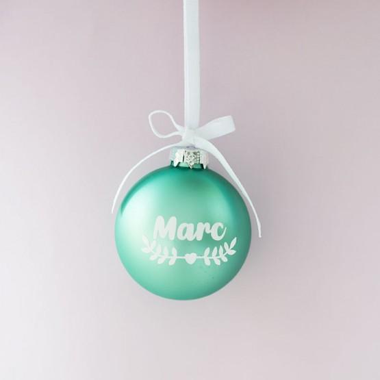 bola navidad con nombre azul