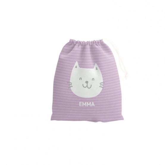 bolsa merienda con nombre gatito
