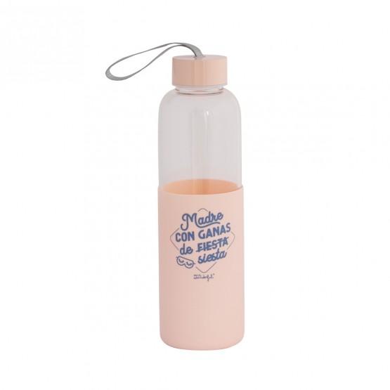 botella de agua de cristal reutilizable