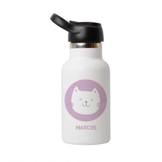 botella para el agua con el nombre y gatito