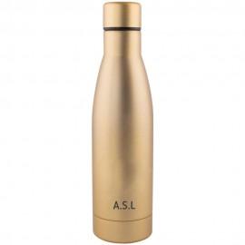 botella térmica dorada iniciales