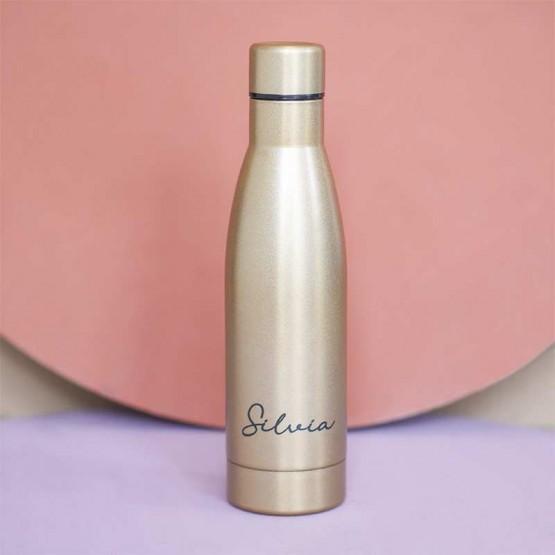 botella térmica personalizada dorada