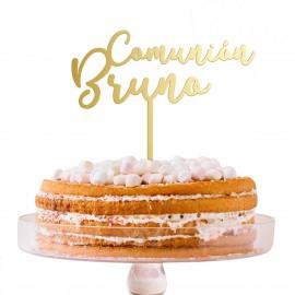 Cake topper comunión dorado