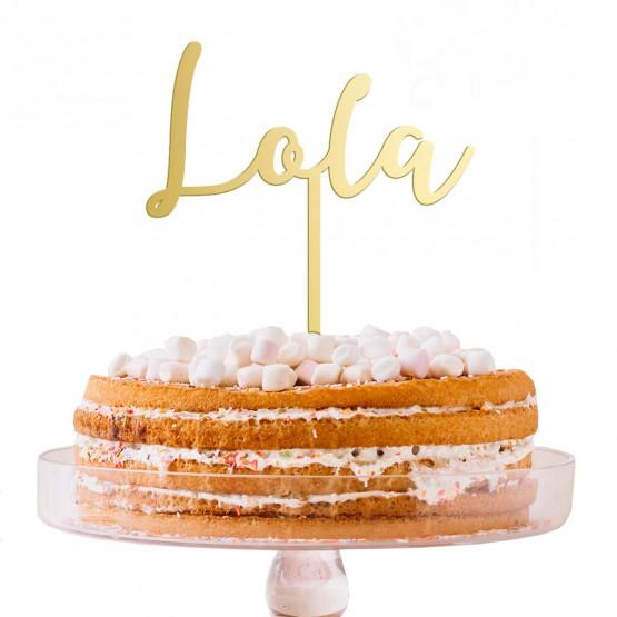 Cake topper nombre dorado