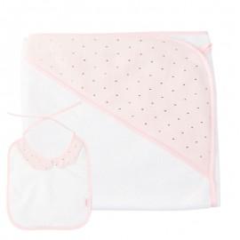 Capa baño y babero rosa pastel