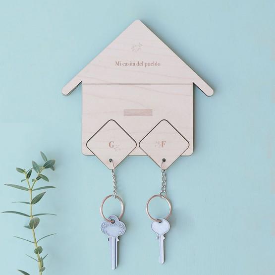 cuelga llaves madera casita