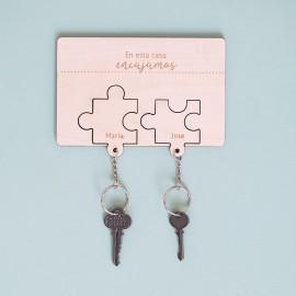 cuelga llaves puzzle madera