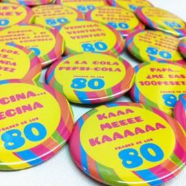 26 chapas con frases de los 80