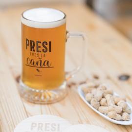 Jarra cerveza y posavasos 'Presi'
