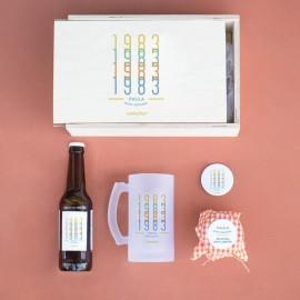 jarra y cerveza personalizada con mensaje