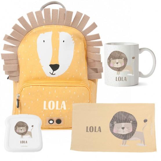 kit escolar mochila león