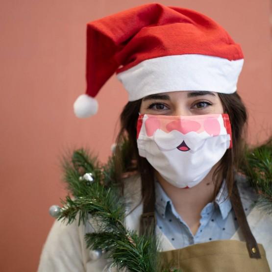 mascarilla Papá Noel con gorro