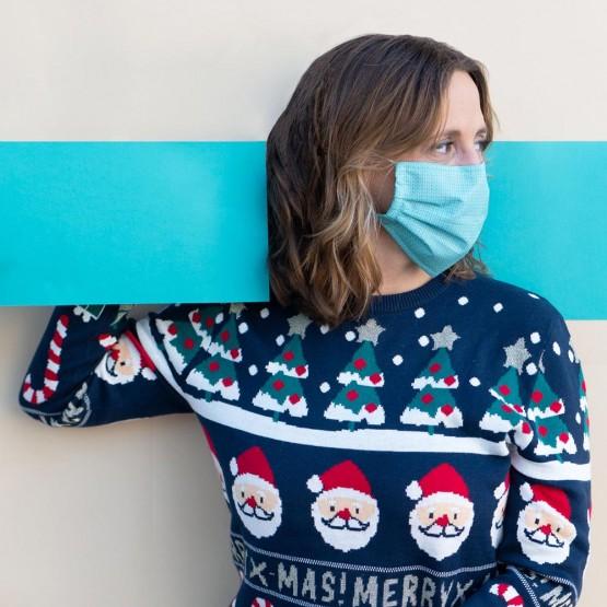 mascarilla navideña textura jersey
