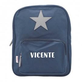 Mochila estrella guardería azul personalizada