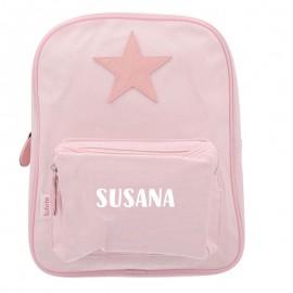Mochila estrella rosa personalizable
