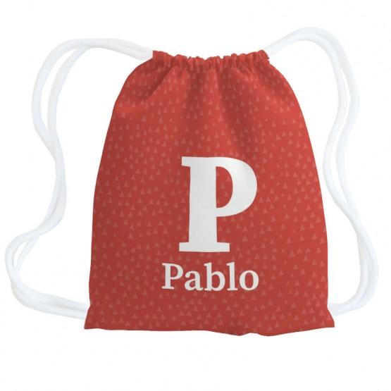 Mochila saco iniciales roja
