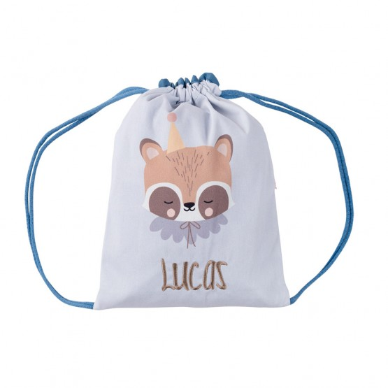 Mochila saco personalizada mapache