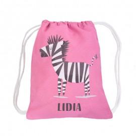 Mochila saco rosa personalizada