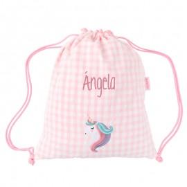 Mochila saco unicornio personalizada