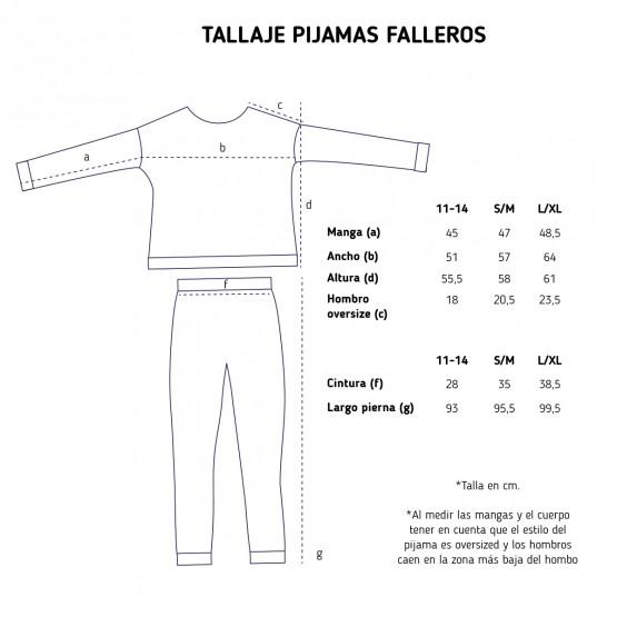 Tallas pijama fallero