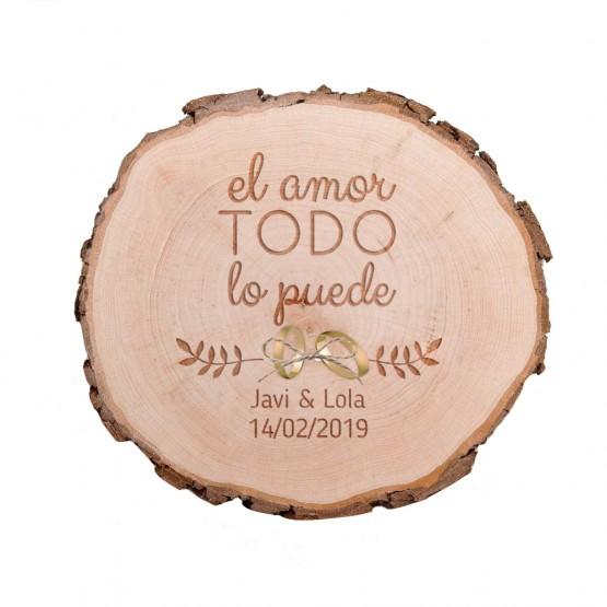 Porta alianzas boda tronco madera