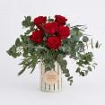 ramo seis rosas rojas con mensaje
