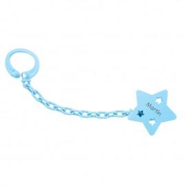 Sujeta chupete personalizado estrella azul
