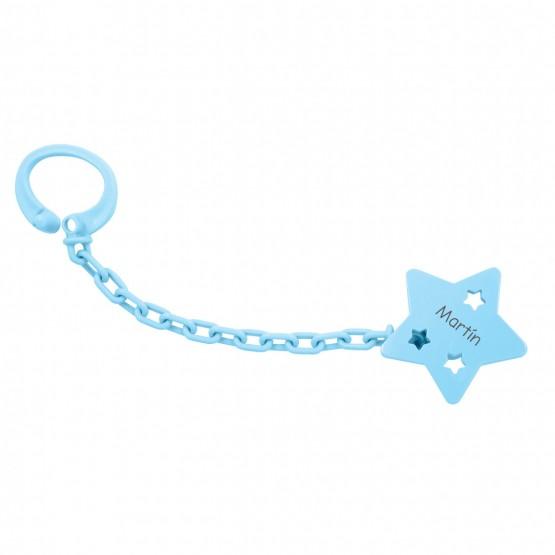 sujetachupete estrella personalizado azul