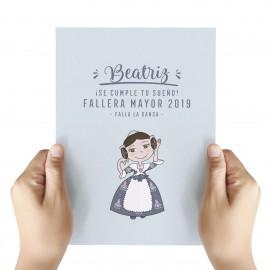 tarjeta felicitación Fallera Mayor personalizada
