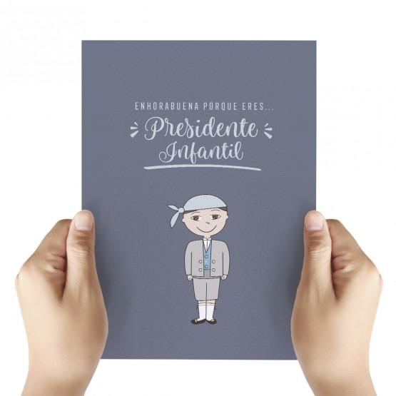 tarjeta felicitación presidente infantil