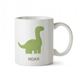 taza de plastico con dinosaurio y el nombre