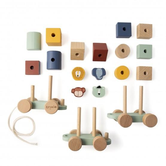 tren de madera con bloques de colores