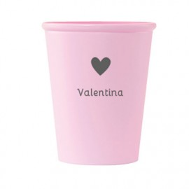 Vaso rosa corazón personalizado
